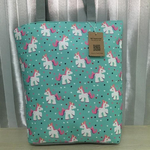 Canvas Unicorn Diaper Bag