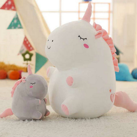 Chubby Stuffed Unicorn Pillow Toy