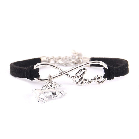 Little Leather Infinity Love Unicorn Charm Bracelet