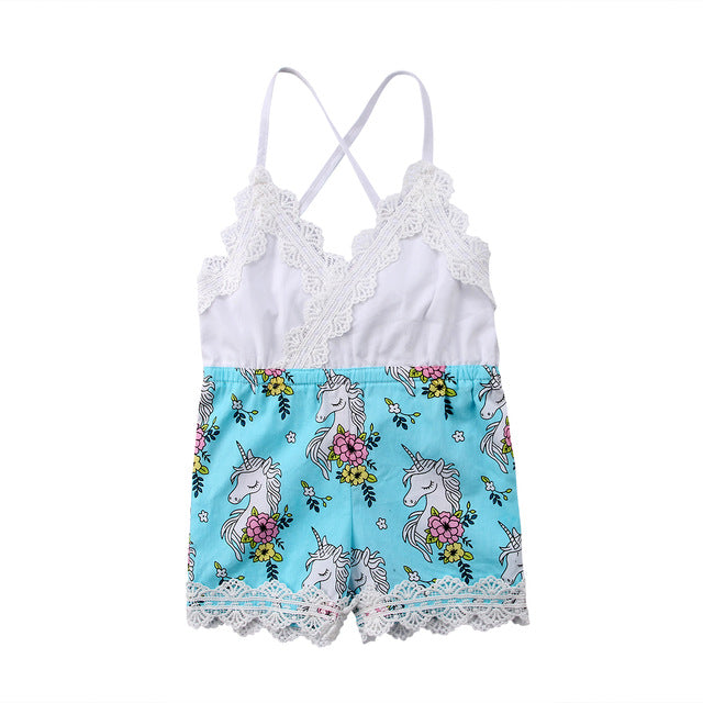 Blue Unicorn Romper Jumpsuit