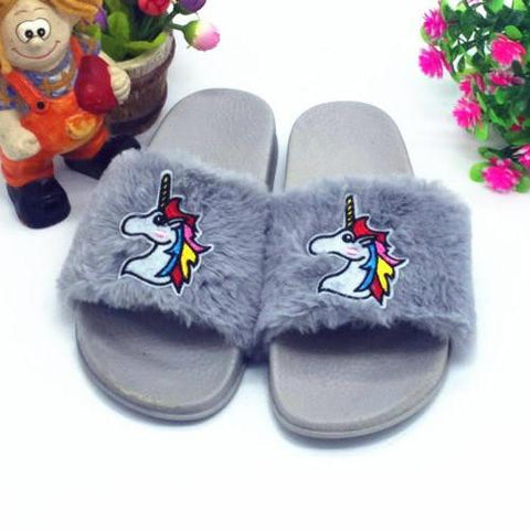 Gray Fur Unicorn Flip Flops