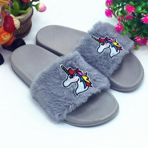 Gray Unicorn Slippers