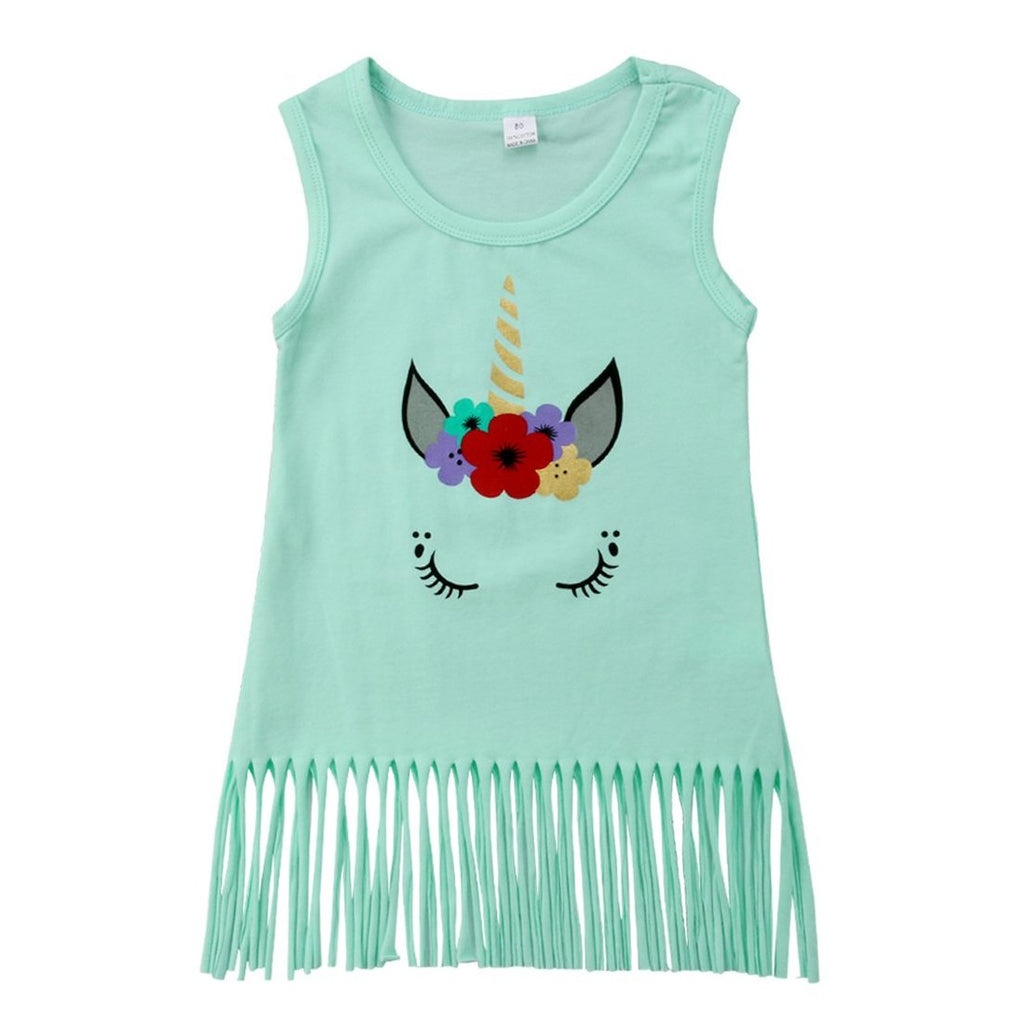 Girls Teal Green Tassel Unicorn Sun Dress