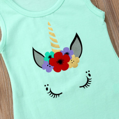 Girls Teal Green Unicorn Sun Dress Design