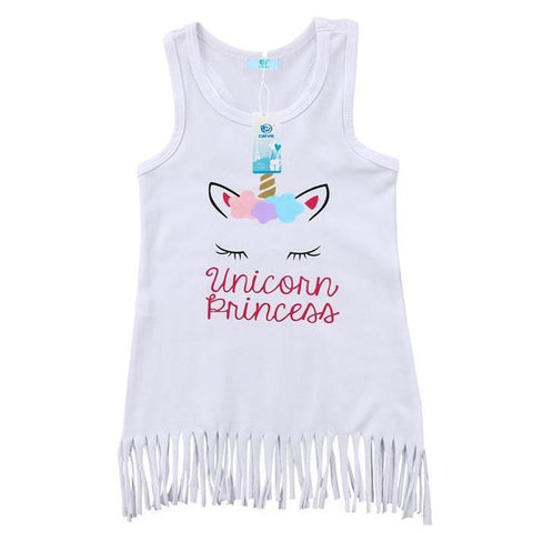 Girls White Tassel Unicorn Sun Dress