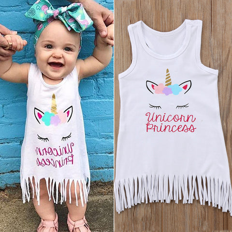Girls White Unicorn Sun Dress
