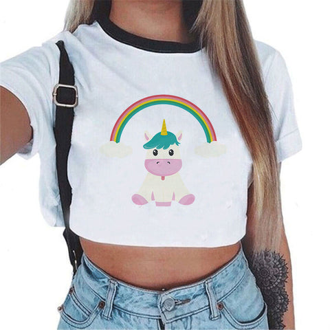 Women's Assorted Unicorn Print Crop Top T-Shirt
