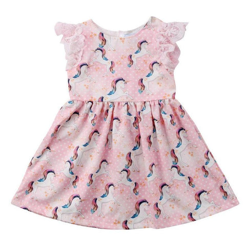 Girls Sleeveless Pink Unicorn Party Dress