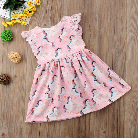 Pink Girls Unicorn Summer Dress