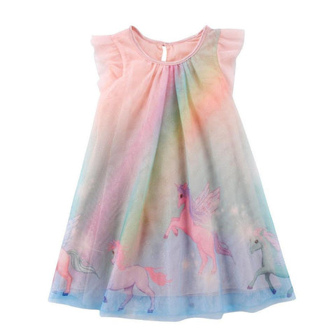 Girls Rainbow Unicorn Summer Tulle Sun Dress
