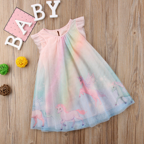 Girls Unicorn Rainbow Summer Dress