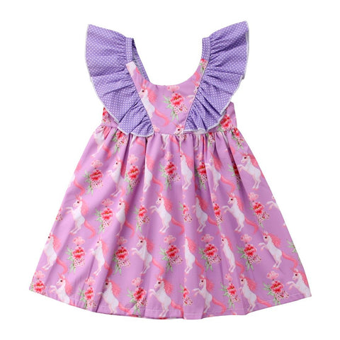 Purple Unicorn Patterned Sun Dress