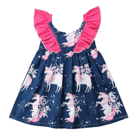 Blue Unicorn Patterned Sun Dress