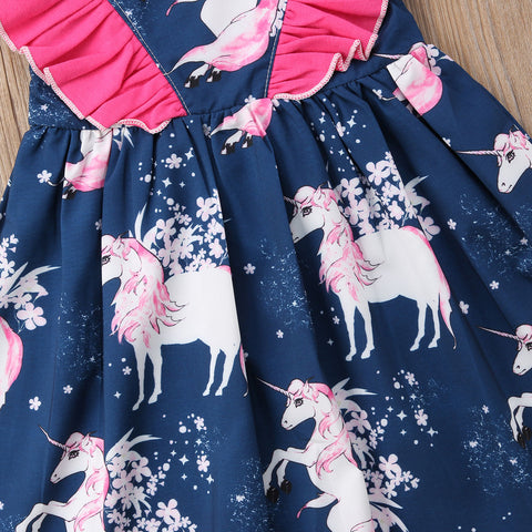 Girls Sun Dress Unicorn Pattern