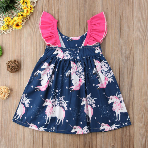 Sleeveless Blue Unicorn Girls Dress