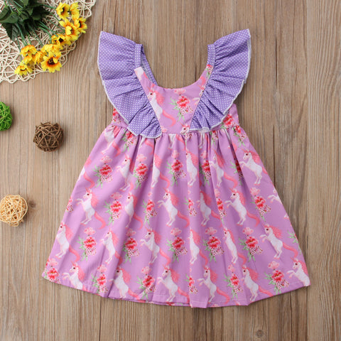 Girls Purple Unicorn Dress