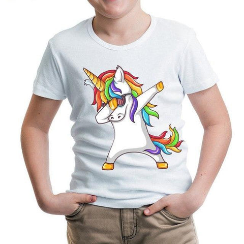 Kids Dabbing Rainbow Unicorn T-Shirt