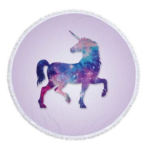 Round Purple Unicorn Beach Towel 2