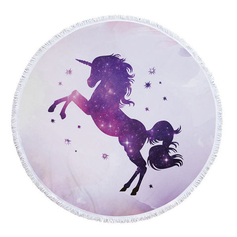 Round Purple Unicorn Beach Towel w/ Tassels