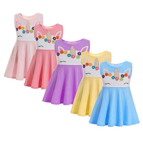 Girls Unicorn Princess Face Summer Dress