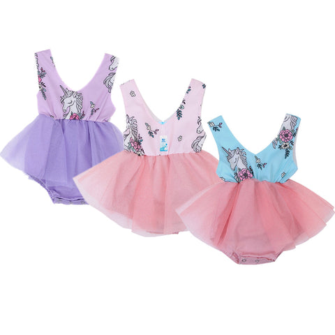 Baby Girl's Unicorn Romper Tulle Summer Dress