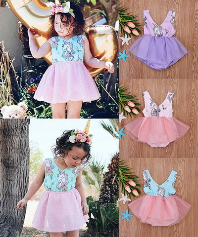 Girls Unicorn Baby Romper Dress