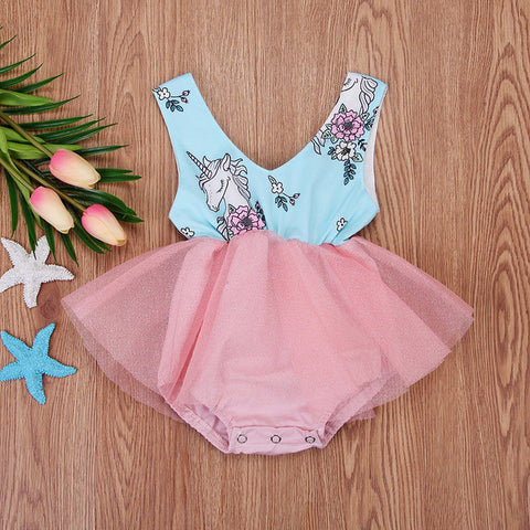 Cyan Unicorn Romper Summer Dress