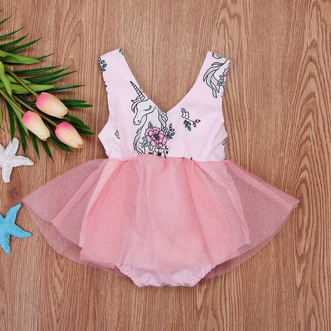 Pink Unicorn Romper Summer Dress