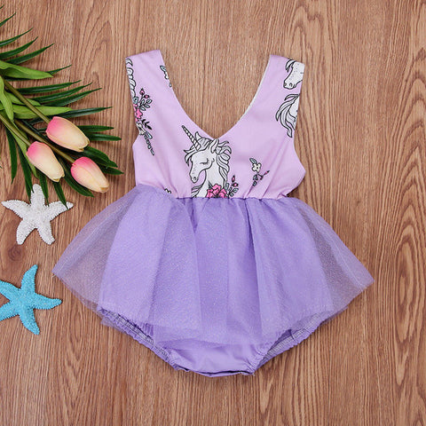 Purple Unicorn Baby Summer Dress