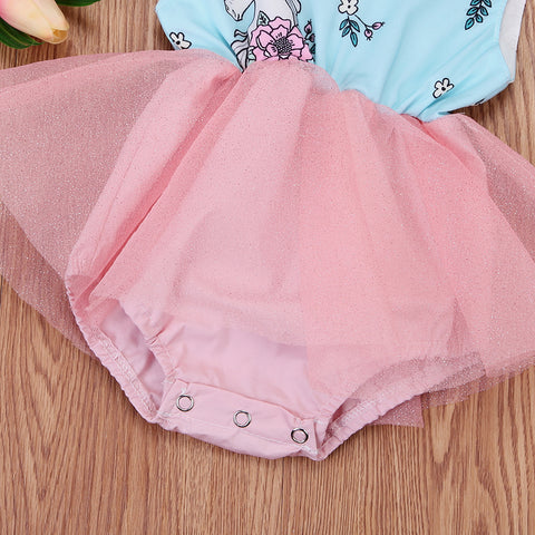 Baby Unicorn Romper Dress Close-Up