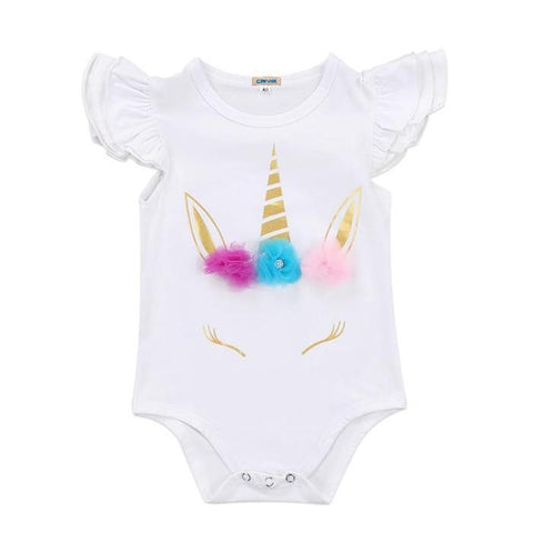 Baby Girls Short Sleeve Unicorn Crown Onesie Bodysuit