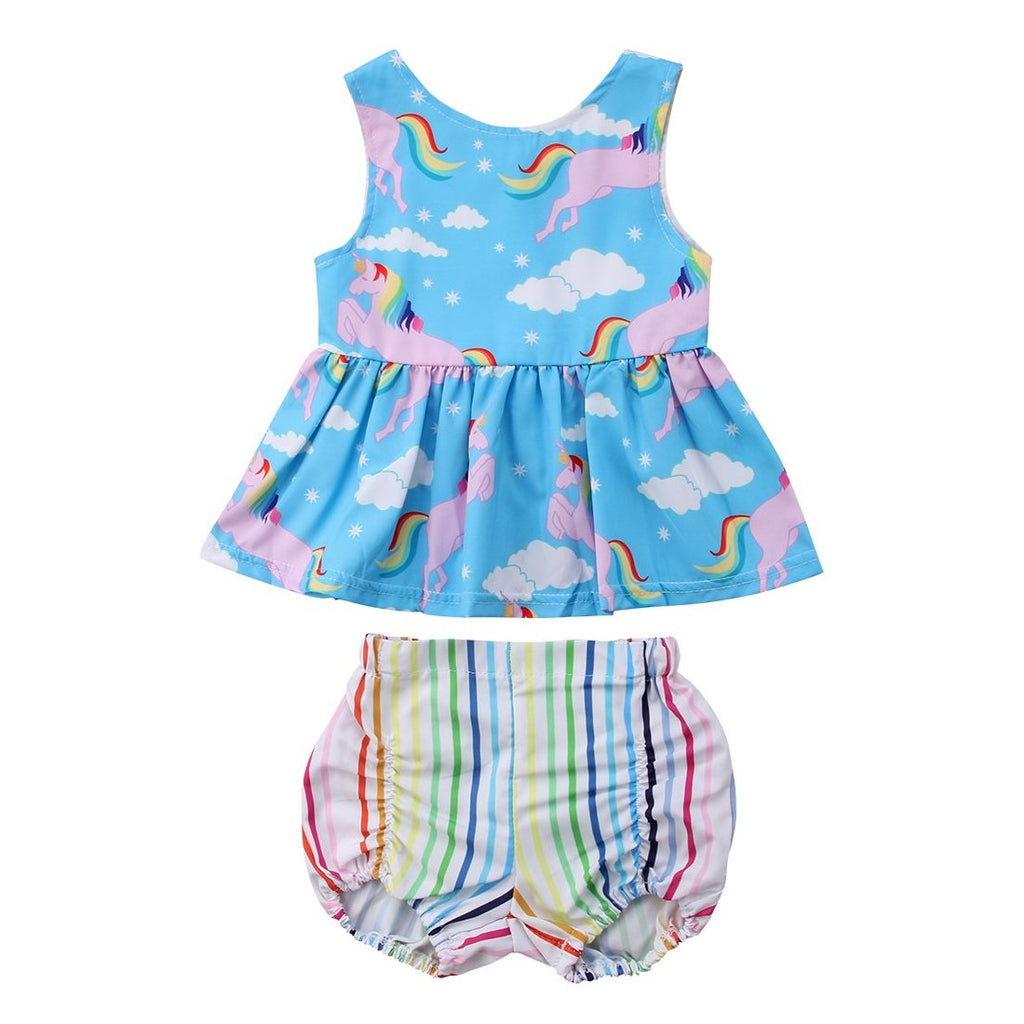 Girls 2-Piece Unicorn Sun Dress w/ Rainbow Shorts