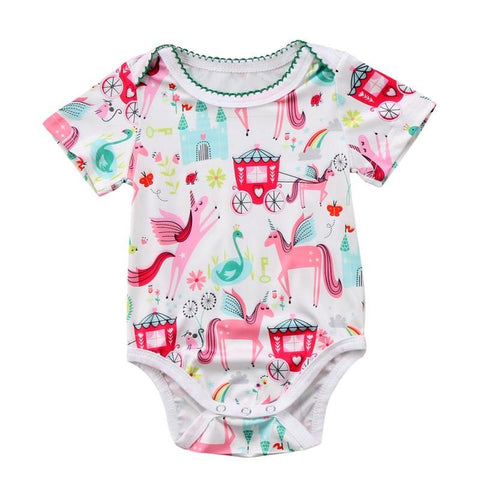 Baby Girl's Magical Patterned Unicorn Onesie Bodysuit