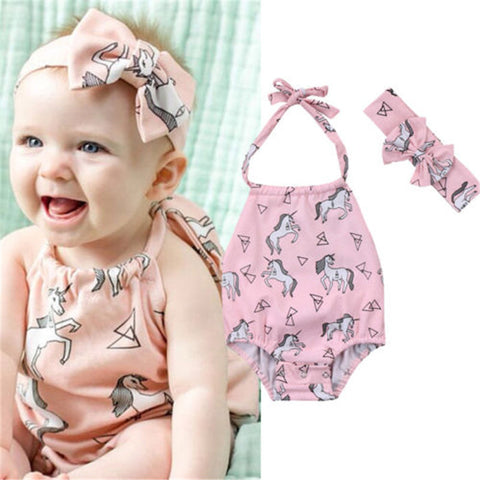 Pink Unicorn Halter Bodysuit for Girls