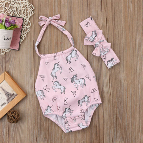 Pink Backless Baby Unicorn Halter Bodysuit