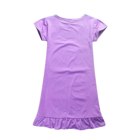 Back of Purple Girls Unicorn Dress