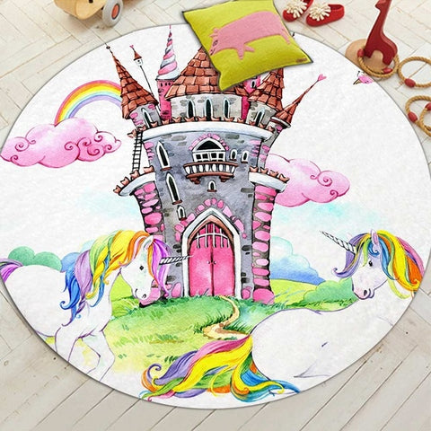 Round Rainbow Unicorn Castle Floor Mat Rug