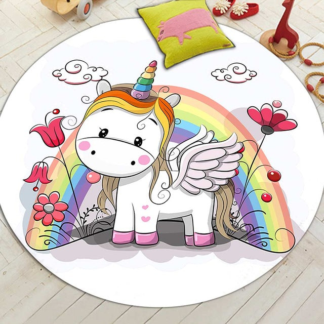 Round Cartoon Rainbow Unicorn Floor Mat Rug