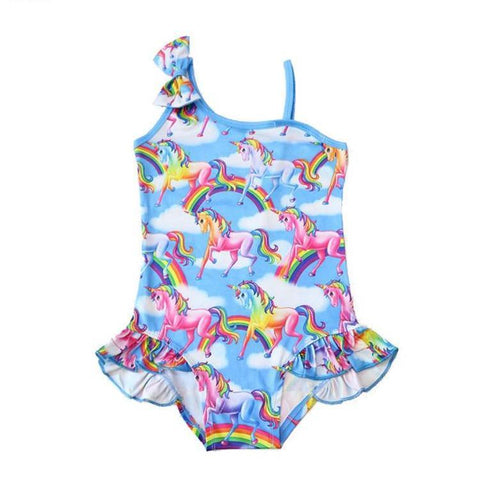 Girls 1-Piece Swept Shoulder Unicorn Print Swimsuit