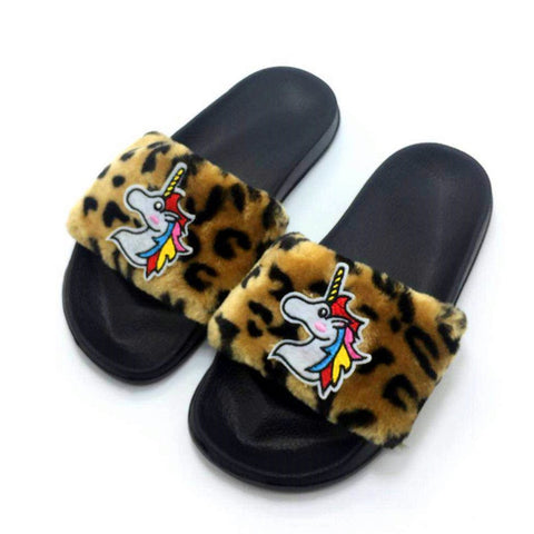 Fuzzy Unicorn House Slipper Flip-Flops