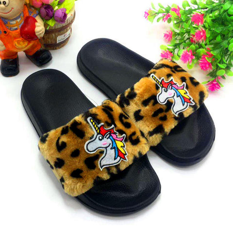 Leopard Print Unicorn Slippers