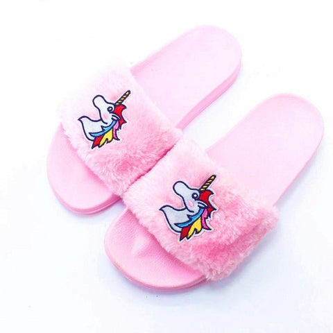 Pink Fur Unicorn Slippers
