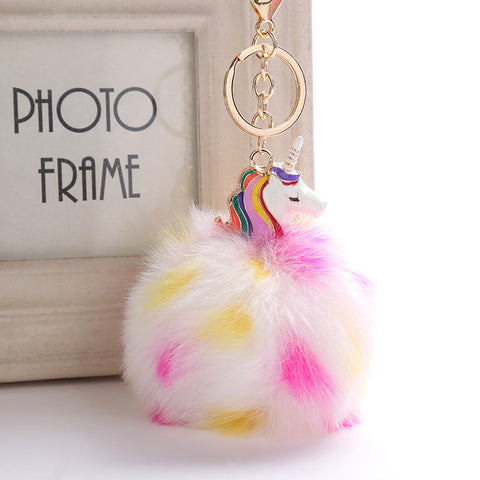Fluffy White Unicorn Keychain
