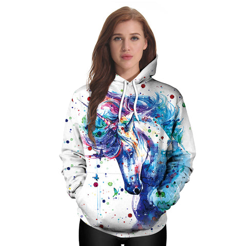 Magical Rainbow Splash Unicorn Hoodie Pullover