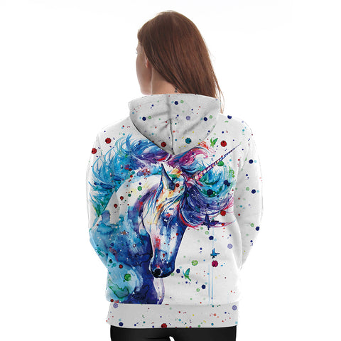 Back of Rainbow Splash Unicorn Hoodie