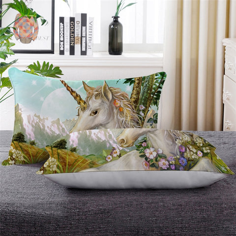 Mountain Flower Unicorn Throw Pillow