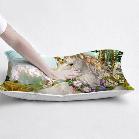 Mountain Flower Unicorn Pillow