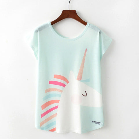 Women's Loose Cartoon Unicorn T-Shirt