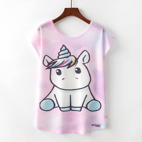 Women's Loose Cute Baby Unicorn T-Shirt