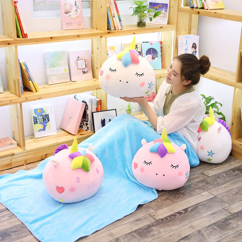 Round Stuffed Plush Unicorn Pillow with Blanket